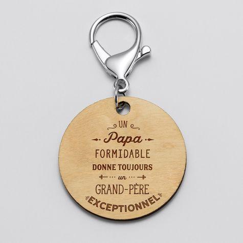 """Porte-clés gravé bois médaille ronde 50 mm - Edition spéciale """"Grand-père exceptionnel"""""""
