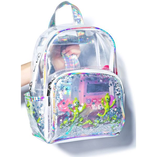 Aliens R Watchin' Backpack ($40) ❤ liked on Polyvore featuring bags, backpacks, clear backpack, blue bag, mini rucksack, miniature backpack and crystal clear bags
