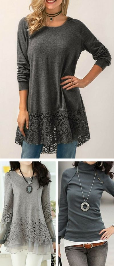 blouse, cute blouse, winter blouse, long sleeve blouse, modest blouse, blouses for women, fashion tops, casual blouse, lace blouse, grey blouse, blouses, blouse 2017, blouses, lace panel blouse, high neck blouse, free shipping worldwide at Rosewe.com.