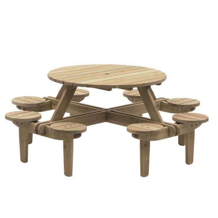 ATFUOF376 Woburn Pine Round Picnic Table