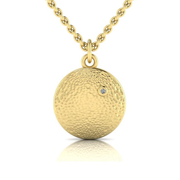 [WHY HER] Africa Collection - Yellow Gold Plated Diamond Hammered Pendant And Chain by WHYJewellery