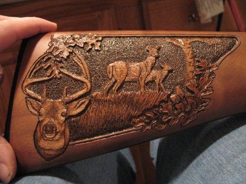 Amish hand carved gun stocks