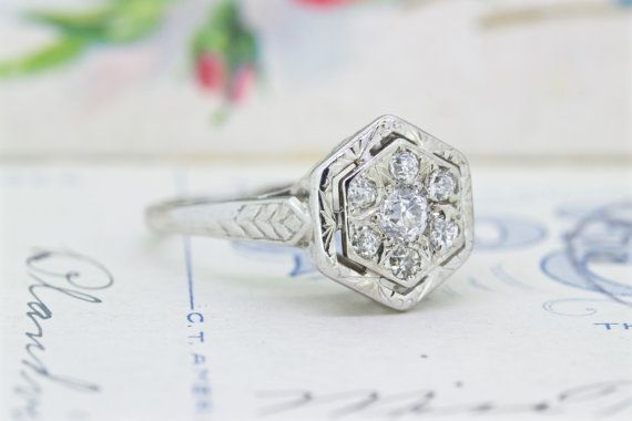 Vintage Engagement Ring  Antique Diamond by FergusonsFineJewelry