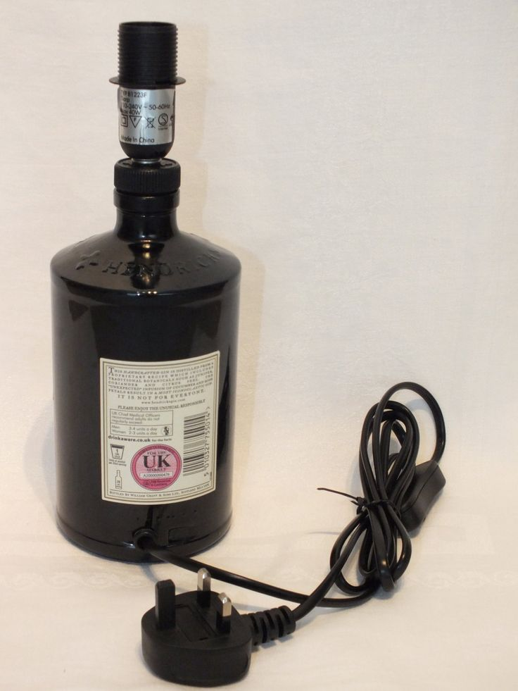 Cool Hendricks Gin Bottle (upcycled) Table Lamp with choice of Lamp Shade - UK…