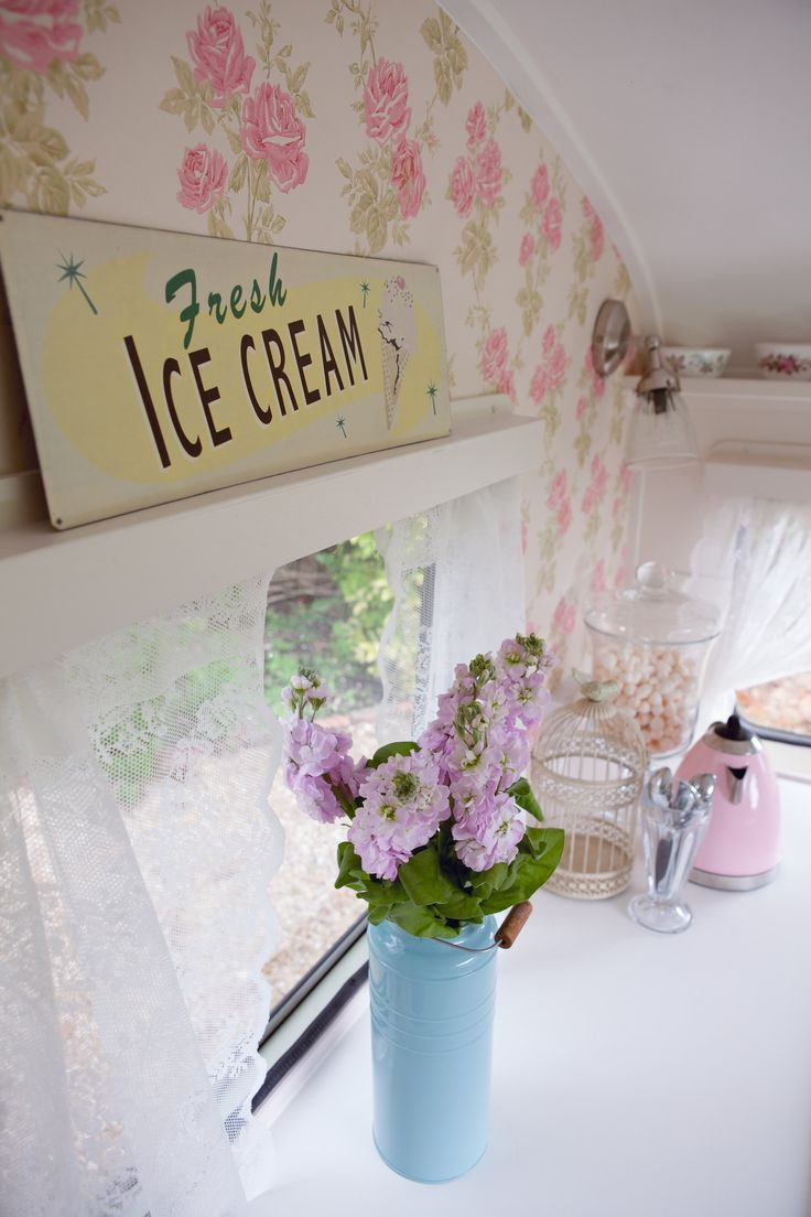Inside the vintage ice cream caravan, bring tastebud tingling ice cream to any event