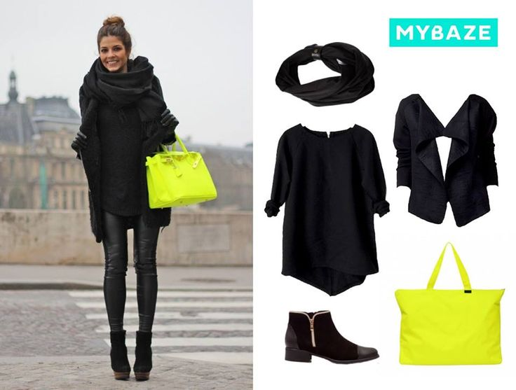 Autumn trends: monochrome outfit with neon detail #neon #bag #outerwear