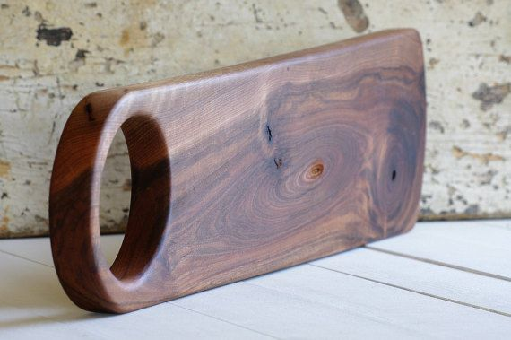 Minimalist Design - Modern Cutting Board - Michael Vermeij - Tapas Plank - Serving Board Handle - Oval Tray - Handcrafted Design - Walnut