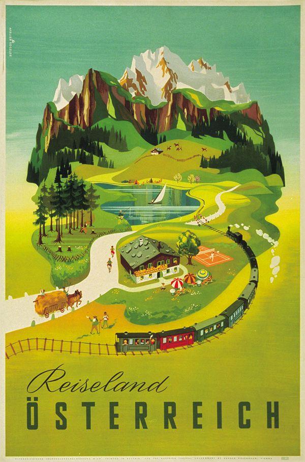 Welcome to Austria - vintage travel posters - Reiseland Österreich by Atelier Koszler, 1955