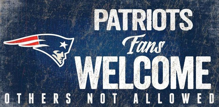 New England Patriots Sign Wood 12x6 Fans Welcome Design