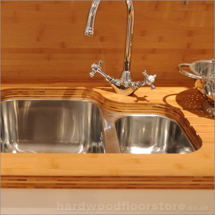 bamboo worktop with cutout for sink