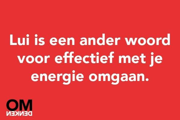 Lui is een ander woord voor effectief met je energie omgaan