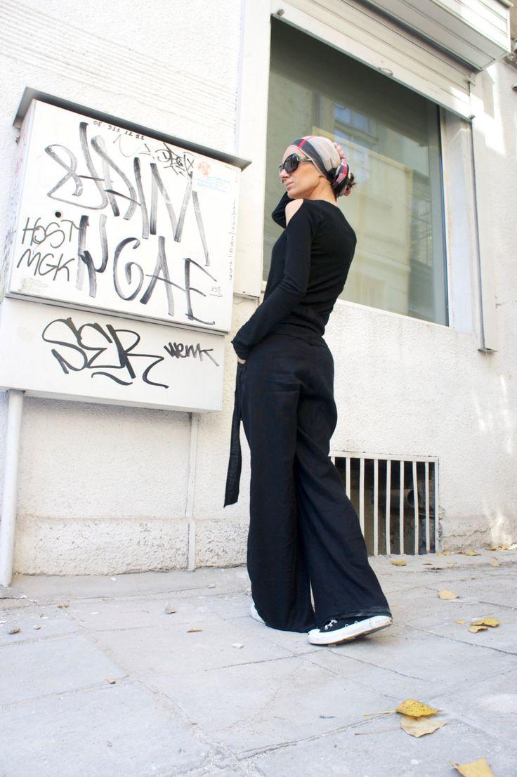 Losse linnen zwart broek / wijd been broek herfst extravagante