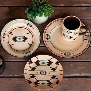 Delectably Yours Artesia Southwest Dinnerware Set by HiEnd Accents includes 4 dinner plates, 4 salad plates, 4 bowls, 4 mugs.  Accessory pieces available  #DelectablyYours Southwestern Kitchen and Dining Decor