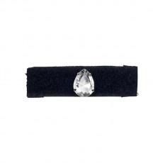 Anello in velcro nero foderato in gros grain con goccia di cristallo chandelier riposizionabile