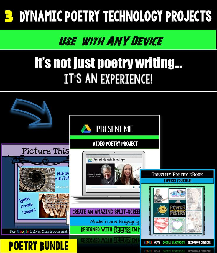 Use technology and creative choice to engage your students with this dynamic digital poetry project resource bundle! Three technology projects, student handouts, specific directions, student examples, grading rubrics, and more! It's not just poetry writing…it's an experience!