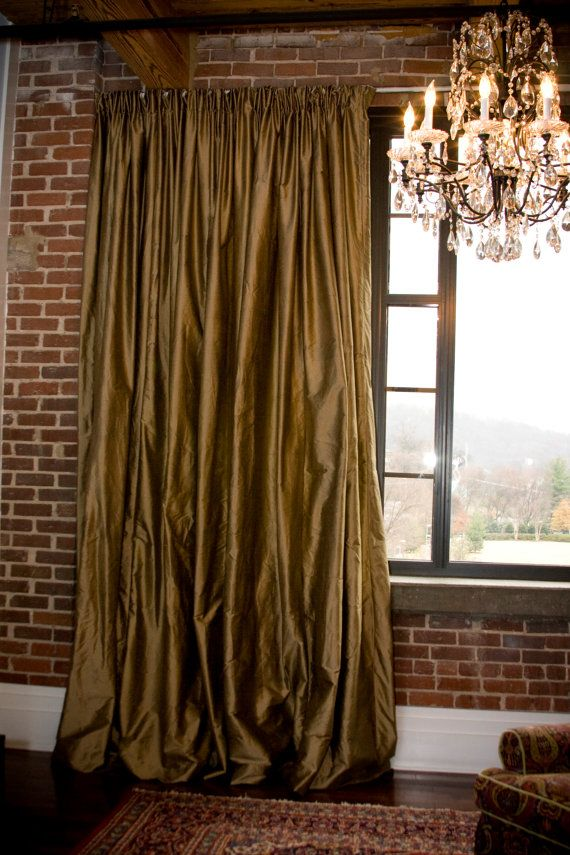 rich silk to compliment red brick in the living room