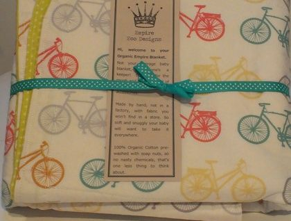 I like to ride my bicycle! - Organic Cotton Baby Blanket by Empire Eco Designs