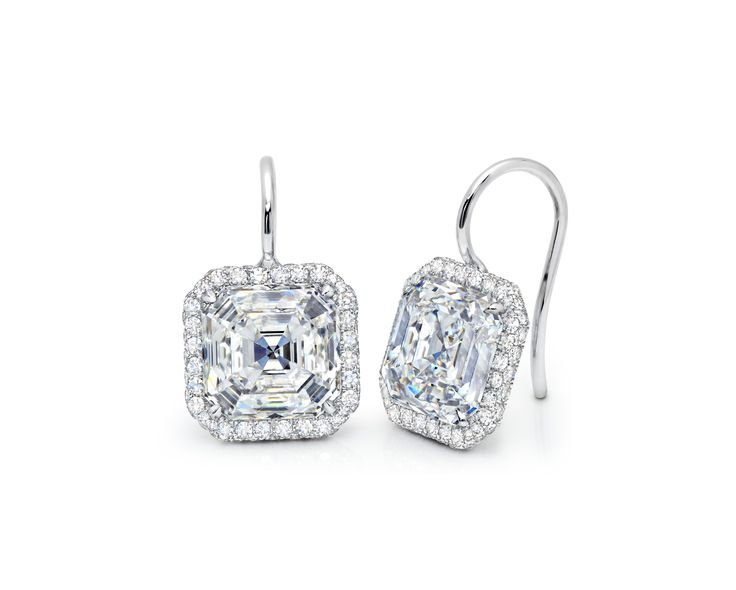Martin Katz Bridal Collection, 4.0ct each, asscher diamonds in 18kt white gold toby wire drop earrings, microset with 128 diamonds of 0.80cts.
