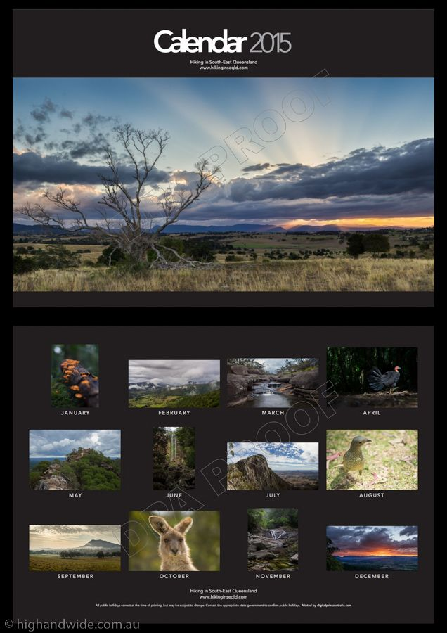 The 2016 High and Wide calendar is here. Inside you'll find a selection of my favourite images taken throughout South-East Queensland and Tasmania over the last 12 months. From the depths of the Go...