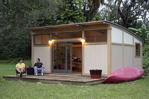 Metro Shed (they also make cabins and boats!) - Flat Pack Prefab Delivery - No Building Experience Required - Green Eco-Friendly http://www.metroshed.com/metrocabin-gallery.html