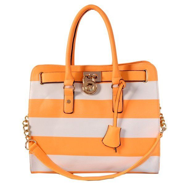 Michael Kors Striped Travel Large Orange Grey Totes Outlet