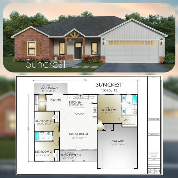 Suncrest House Plan 1504 Square Feet Etsy Building Plans House Building A House Small House Plans