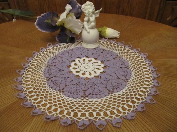 Flower Lilac Crochet Lace Doily Table by DoliaGalinaCrochet