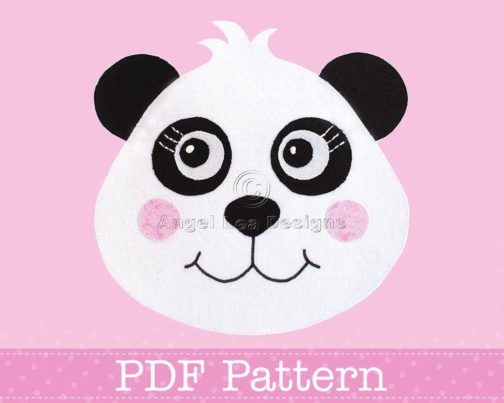 Panda Applique Template PDF Pattern for Raw Edge Fusible Web Applique Making PDF Template by Angel Lea Designs. $2.30, via Etsy.