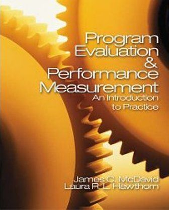 Program Evaluation & Performance Measurement: An Introduction to Practice (PRINT VERSION) http://biblioteca.cepal.org/record=b1252229~S0*spi Authors James C. McDavid, Irene Huse, and Laura R. L. Hawthorn guide readers through conducting quantitative and qualitative program evaluations, needs assessments, cost-benefit and cost-effectiveness analyses, as well as constructing, implementing and using performance measurement systems.