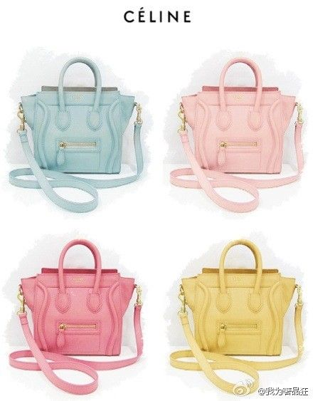 Celine Nano Luggage Tote in pastels. The mint and pink ...