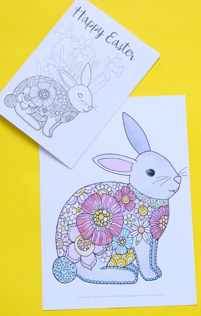 Easter Bunny Coloring Pages - one gorgeous designs 4 ways to print. Turn these into wonderful Greeting Cards. Have a stand along bunny, or combine it with some pretty Spring Flowers. We love coloring pages for Easter and we love coloring pages for adults!!!!