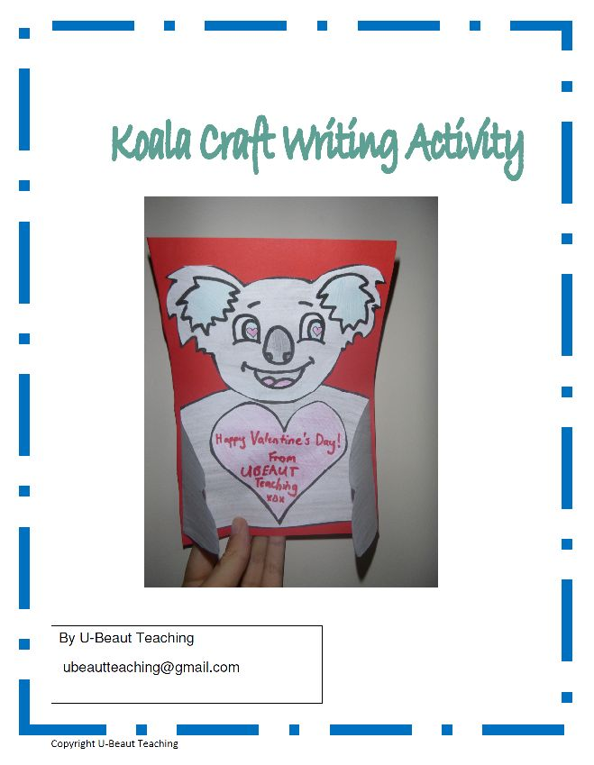 Grade - Pre-K - Kindergarten, Subject - - Creative Writing - Koala Craft Writing Activity By U-BEAUT-TEACHINGWrite your Valentine or other special message on this cute Koala card complete with template and instructions.Subjects: Creative Writing, EFL - ESL - ELD, Valentine's DayGrades: Kindergarten, 1st, 2nd, 3rd, 4th, 5th, HomeschoolTypes: Activities, Fun Stuff