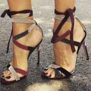 Shoespie Chic Lace Up Color Block Stiletto Heel Open Toe Dress Sandals