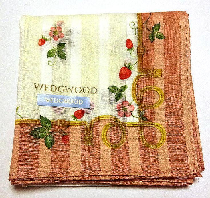 WEDGWOOD Handkerchief scarf bandana Cotton White Wild Strawberry New Collectible #WEDGWOOD #DesignerArtist