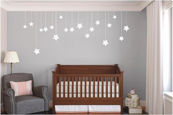 Hanging Stars - Nursery and Kids Room Vinyl Wall Decals Stickers Quotes    Please pick from the following colors at checkout: Black, White,