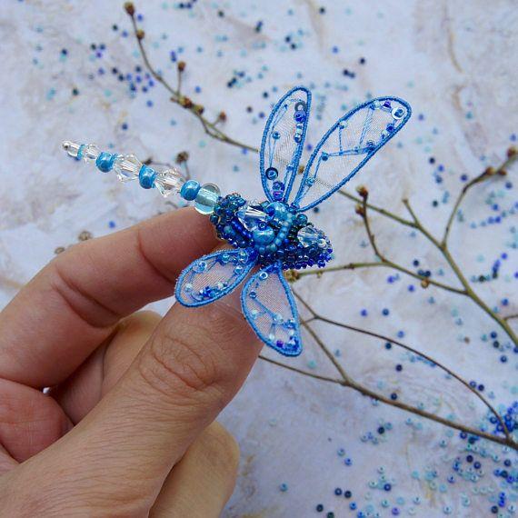 Libellula perline pin - gioielli libellula - ricamato regalo di compleanno di libellula - insetto arte - libellula blu - libellula spilla-