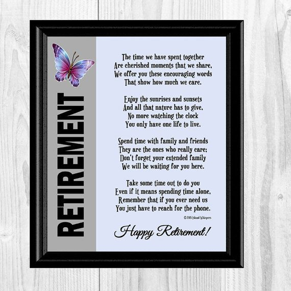 Retirement Poem, Retirement Gift, Co-Worker Retirement ...