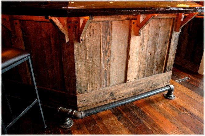 Ultimate custom design built man fan cave home basement reclaimed wood bar - Westchester NY