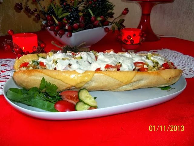 Maminek kulinarny: Bagietka z mięsem i warzywami