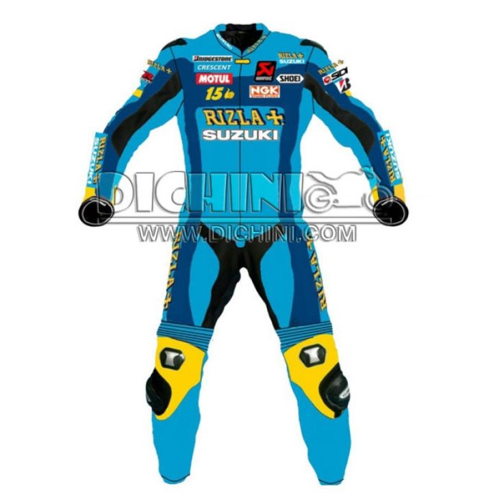 Suzuki Rizla Motorcycle Motogp Race Leather suitSuzuki Rizla Motorcycle Motogp Race Leather suit, Pre-curved sleeves for proper riding position, dual stitched main seams for excellent tear resistance, nylon stitched, leather patches throughout the body shell, This suit features excellent desig