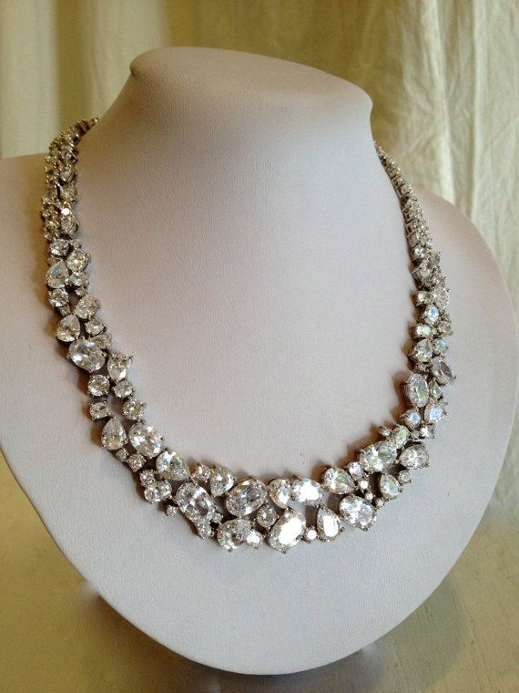 Vintage Diamond Collar Estate Jewelry Necklace by WOWTHATSBEAUTIFUL on Etsy