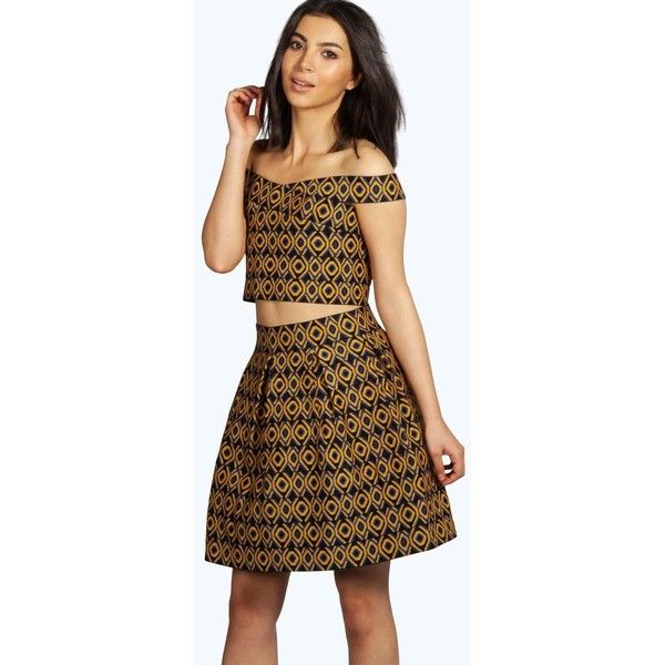 Boohoo Boutique Mia Geometric Print Bandage Skater Skirt ($16) ❤ liked on Polyvore featuring skirts, flared skirt, geometric print skirt, bandage skirt, skater skirt and circle skirt