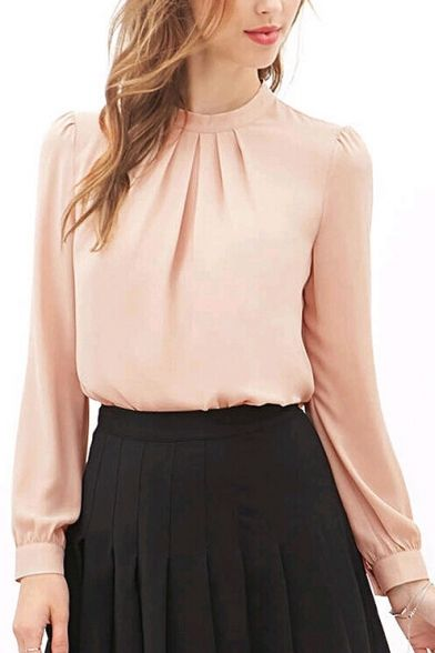 Pink Long Sleeve Ruched Chiffon Blouse
