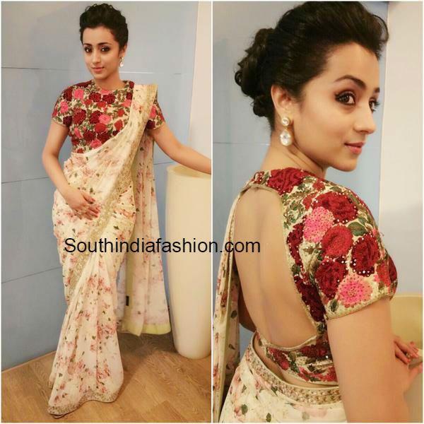 trisha_krishnan_floral_saree_at_thoongaavanam_pressmeet