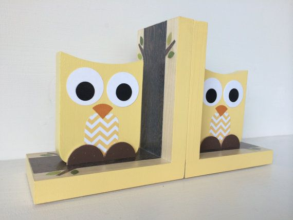 Yellow Owl Bookends with Chevron Belly Owl by MapleShadeKids