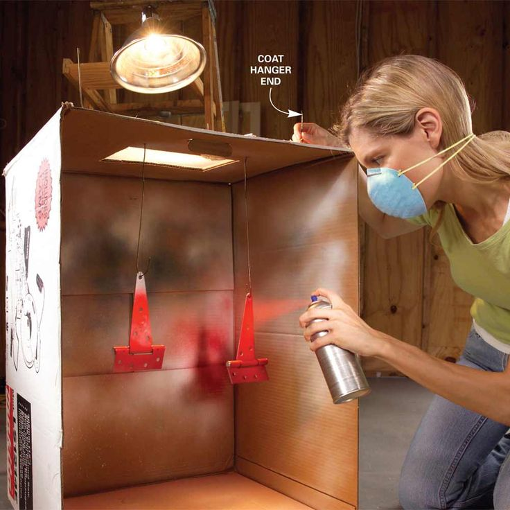 Cardboard Spray Booth - 11 Tips for Faster, Neater Painting: http://www.familyhandyman.com/painting/tips-for-faster-neater-painting