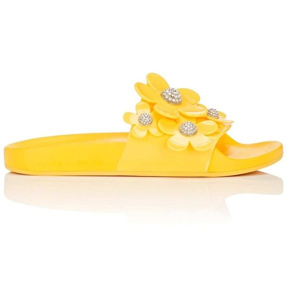 Marc Jacobs Women's Flower-Embellished Rubber Slide Sandals ($195) ❤ liked on Polyvore featuring shoes, sandals, yellow, rubber sandals, rubber slip on shoes, open toe shoes, yellow sandals and rubber slide sandal