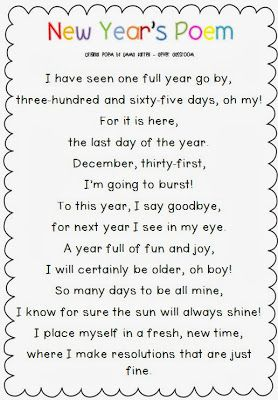 FREE New Year's poem via Clever Classroom's blog.