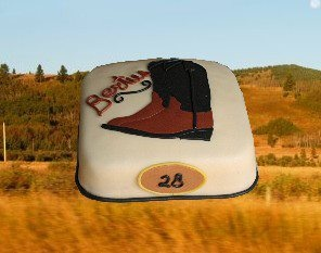 birthday cake, cowboy boots, Made by AMBD