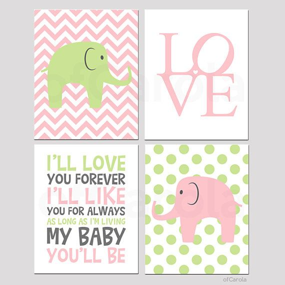 Elephant Wall Art Print Set Four, I'll Love You Forever Always Quote Nursery Room Decor Animals Pastel Pink Lime Green Gray White ofCarola on Etsy, $28.00